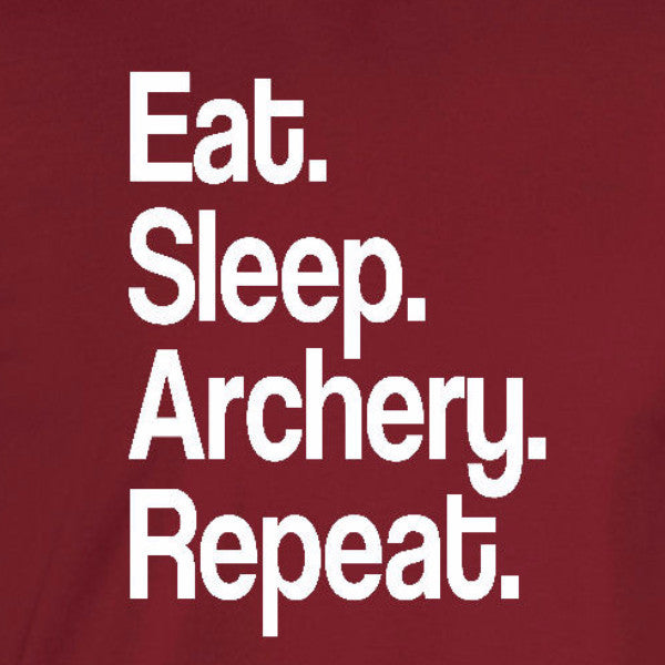 eat sleep archery repeat sports fan motivation bow arrow cardinal red t-shirt
