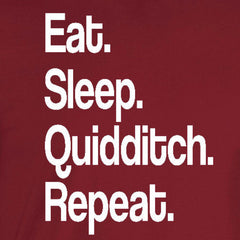 eat sleep quidditch repeat harry potter griffindor slytherin cardinal red t-shirt