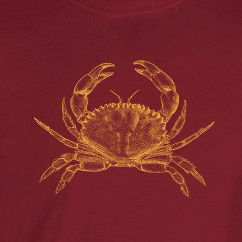 gold crab vintage illustration yellow ink cardinal red t-shirt