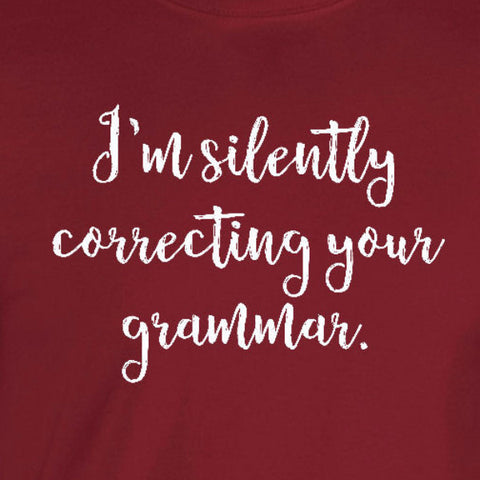 silently correcting your grammar nazi snarky cardinal red t-shirt