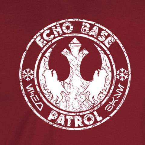 Echo Base Patrol cardinal shirt white print distressed look - wicked moxie - star wars jedi luke han sci fi