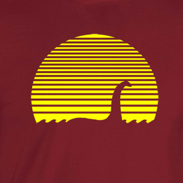 loch ness monster silhouette against a sunset cardinal shirt yellow print - wicked moxie - unexplained ufo x files supernatural cryptozoology