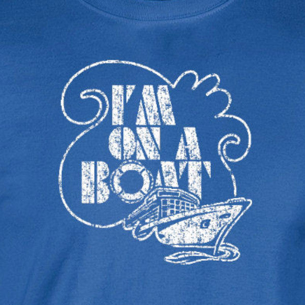 I'm on a boat lonely island love retro royal blue t-shirt