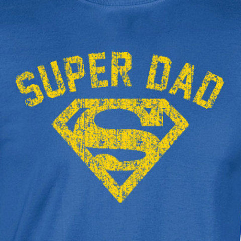 92bbe9758 super dad fathers day superman distressed vintage yellow ink royal blue t- shirt
