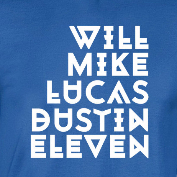 will mike lucas dustin eleven names shirt white print blue shirt - wicked moxie - stranger things 80s e.t. sci fi upside down hawkins indiana