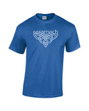 outlander inspired sassenach distressed knotwork white print blue shirt - wicked moxie - scotland poldark fraser fandom