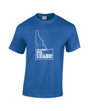 idaho no udaho white print blue shirt - wicked moxie - silhouette state humor funny