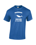 narwhal unicorn of the sea white print blue shirt wicked moxie. Narwhal silhouette with word Narwhal above and unicorn of the sea below