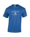 A Malcolm Printer and Bookseller edinburgh scotland est. 1765. White print with celtic knot work design on blue shirt. outlander inspired