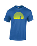 loch ness monster silhouette against a sunset blue shirt yellow print - wicked moxie - unexplained ufo x files supernatural cryptozoology