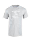 Miskatonic University arkham Massachusetts collegiate font elder symbol in center white print sorts grey shirt - wicked moxie - lovecraft evil dead army of darkness ash necronomicon insanity