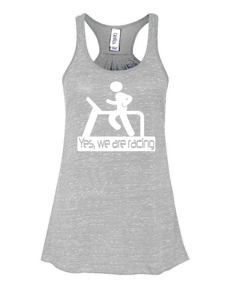 yes we are racing ladies tank athletic heather grey workout fitness gym funny racerback flowy womens tank top