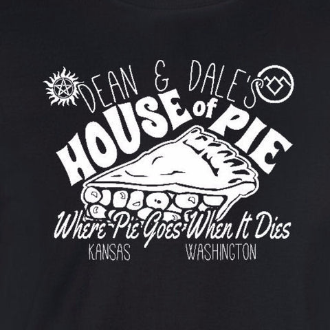 house of pie ladies T-shirt black dean winchester supernatural dale cooper twin peaks womens ladies tee