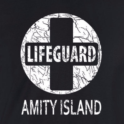 jaws amity island lifeguard black t-shirt
