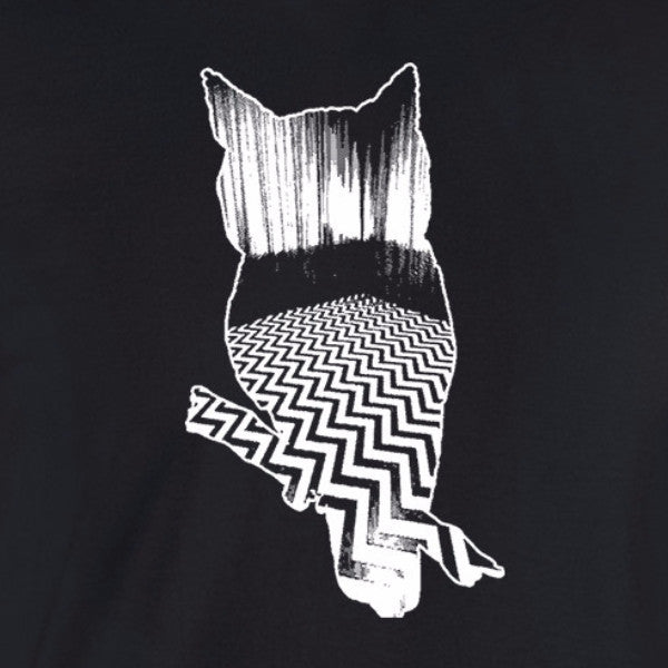 twin peaks owl black lodge agent cooper chevron white ink black t-shirt