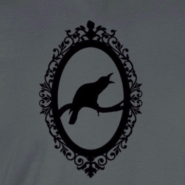 edgar allen poe inspired raven in frame black print charcoal grey shirt - wicked moxie - the following telltale heart raven nevermore