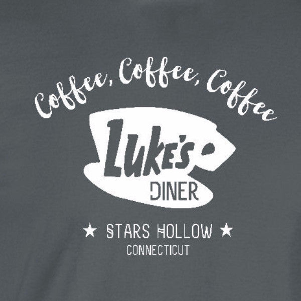 lukes diner coffee gilmore girls charcoal grey t-shirt