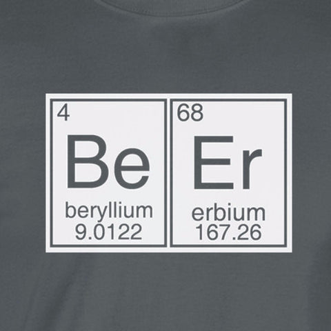 beer periodic table lettering white print charcoal shirt
