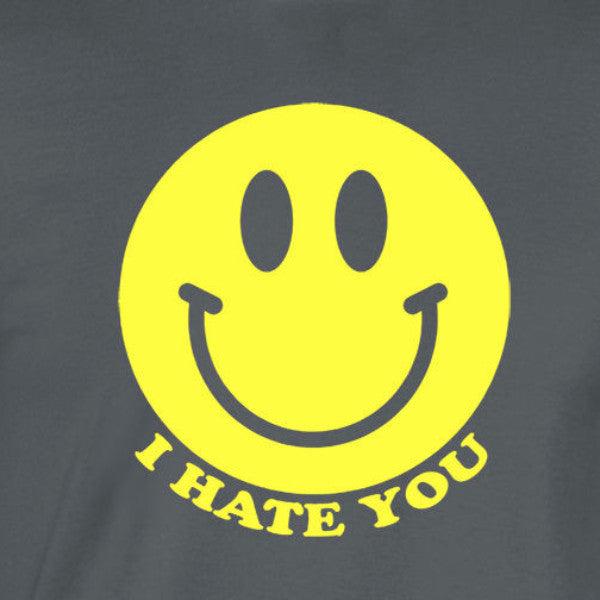i hate you smiley yellow ink charcoal t-shirt