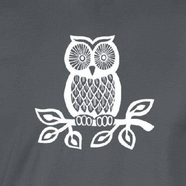 owl on branch white print charcoal shirt - wicked moxie - outside animal nature bird watcher lover