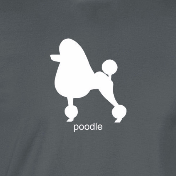 poodle silhouette white print charcoal shirt - wicked moxie -