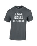 i am sherlocked distressed look white print charcoal shirt - wicked moxie - sci fi sherlock holmes cumberbatch lestrade watson