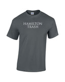 hamilton trash text white print charcoal shirt