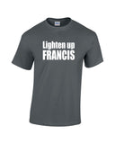 lighten up francis white print charcoal shirt - wicked moxie - stripes quote murray