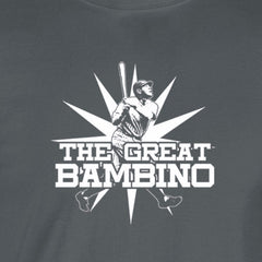great bambino white print charcoal shirt - wicked moxie - killin me smalls babe ruth