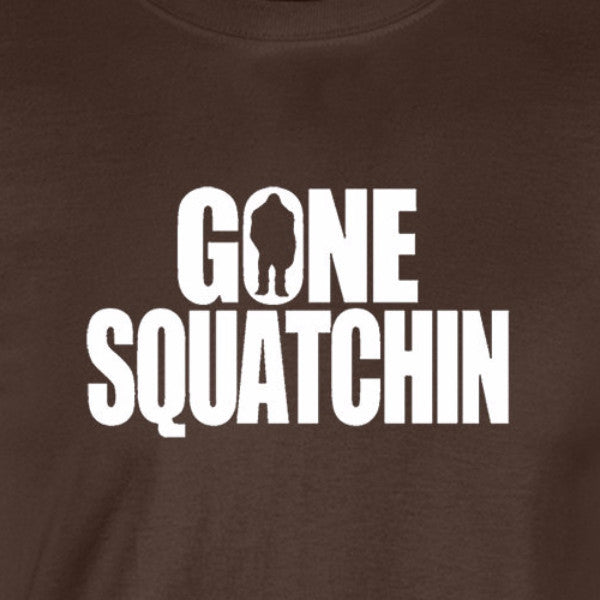 gone squatchin big foot unexplained nature hiking scifi chocolate brown t-shirt