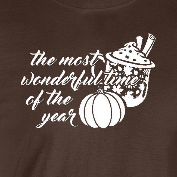 pumpkin spice latte most wonderful time year autumn fall funny chocolate brown t-shirt