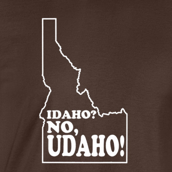 idaho no udaho white print brown shirt - wicked moxie - silhouette state humor funny