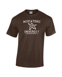 Miskatonic University arkham Massachusetts collegiate font elder symbol in center white print brown shirt - wicked moxie - lovecraft evil dead army of darkness ash necronomicon insanity