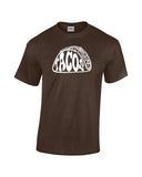 tacos silhouette word shirt brown