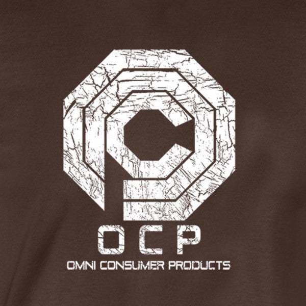 omni consumer products shirt white logo brown shirt