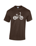 motomag silhouette white print brown shirt - wicked moxie - mongoose bmx schwin vintage old school 80s