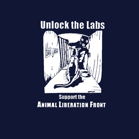 unlock the labs animal liberation alf dog in cage rights activism navy blue t-shirt