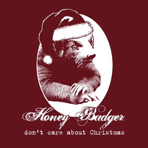 Honey badger Christmas ladies tee cardinal red vintage funny anti short sleeve t-shirt