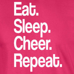 eat sleep cheer repeat sports cheerleading football cheerleader heliconia pink t-shirt