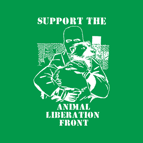 support the alf animal liberation front rights vegan activism man with dog irish green t-shirt