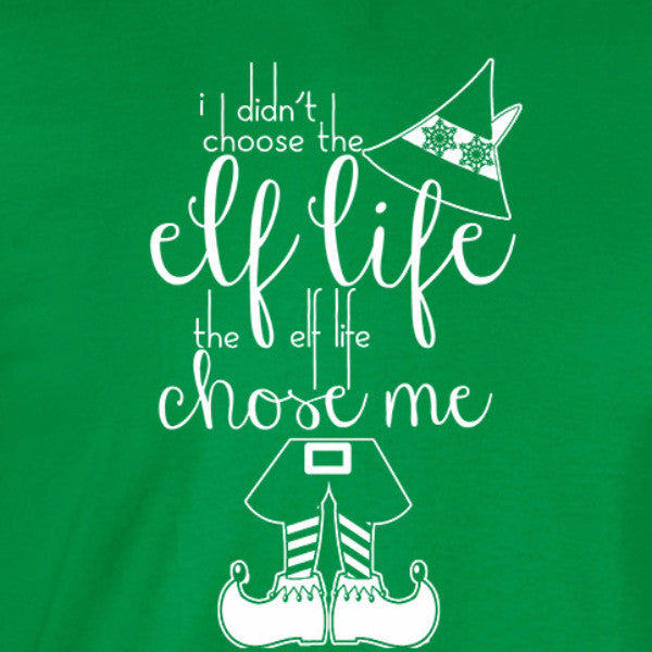 Elf life ladies tee irish green Christmas holiday north pole funny will ferrel text short sleeve graphic t-shirt