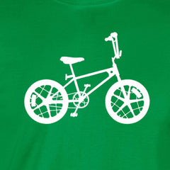 motomag silhouette white print green shirt - wicked moxie - mongoose bmx schwin vintage old school 80s