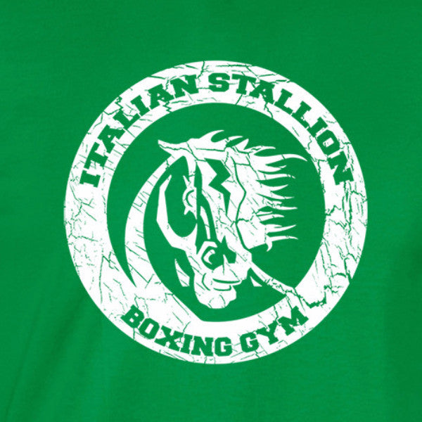 italian stallion boxing gym white print green shirt - wicked moxie - balboa rocky