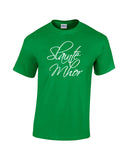 Slainte Mhor white print green shirt - wicked moxie - outlander inspired