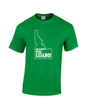 idaho no udaho white print green shirt - wicked moxie - silhouette state humor funny