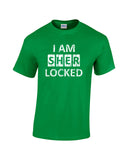 i am sherlocked distressed look white print green shirt - wicked moxie - sci fi sherlock holmes cumberbatch lestrade watson