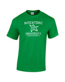 Miskatonic University arkham Massachusetts collegiate font elder symbol in center white print green shirt - wicked moxie - lovecraft evil dead army of darkness ash necronomicon insanity