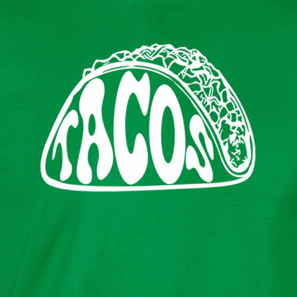 tacos silhouette word shirt green