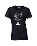 Elf life ladies tee black Christmas holiday north pole funny will ferrel text short sleeve graphic t-shirt