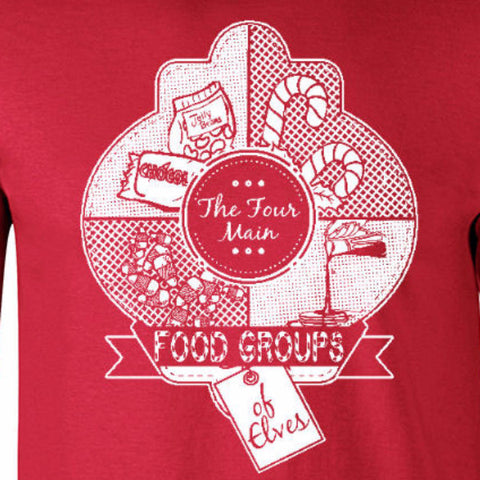 Elf food groups youth tee red Christmas holiday north pole funny will ferrell text short sleeve graphic boys girls kids t-shirt